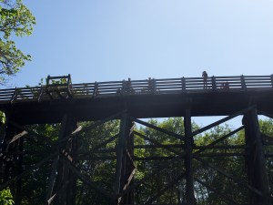 looking up to people and bikes in silhouette on a train trestle turned multi-use trail.