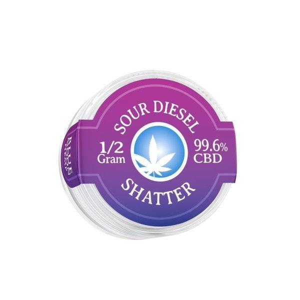 Blue Moon Hemp 99.6% pure CBD shatter in 0.5g size Sour Diesel