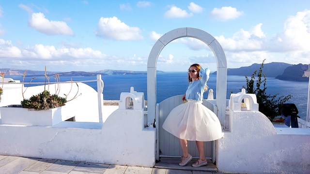 baby blue and white outfit in Santorini