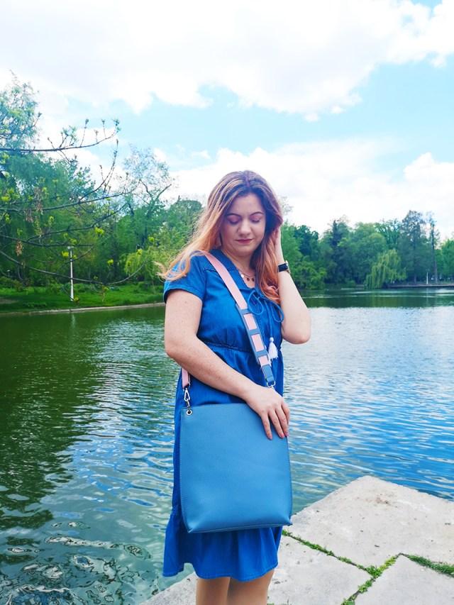 BonPrix Denim Dress and baby blue bag - lorys blog