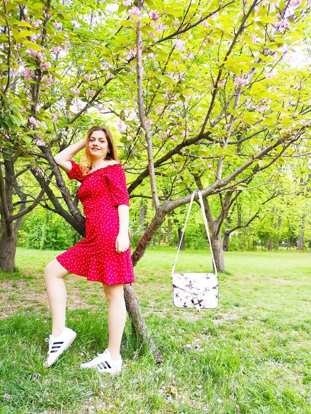 spring outfit - rochie cu buline BonPrix - lorys blog