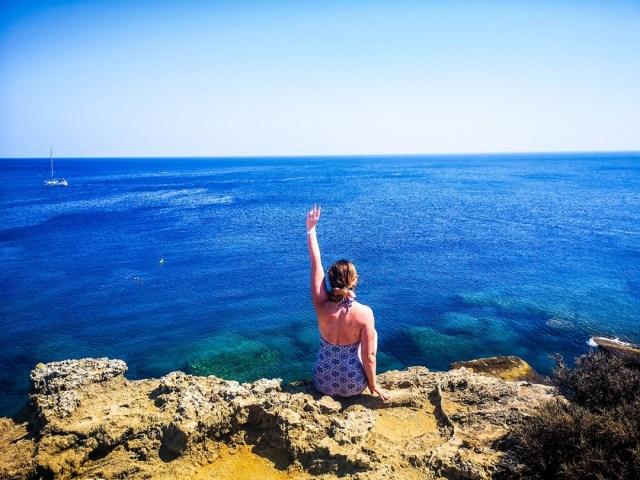 Kallithea Bay in Rodos, Greece - view to the Aegean Sea