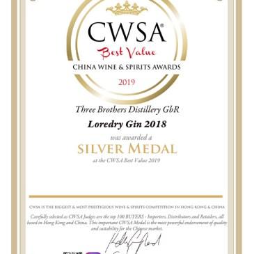 CWSA Best Value Silber für LOREDRY GIN