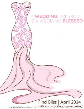 graphic of pink rose print gown from author Lorelei Shellist's Style column in Find Bliss Magazine, April 2014 article: A Wedding Dressed is a Wedding Blessed by Lorelei Shellist