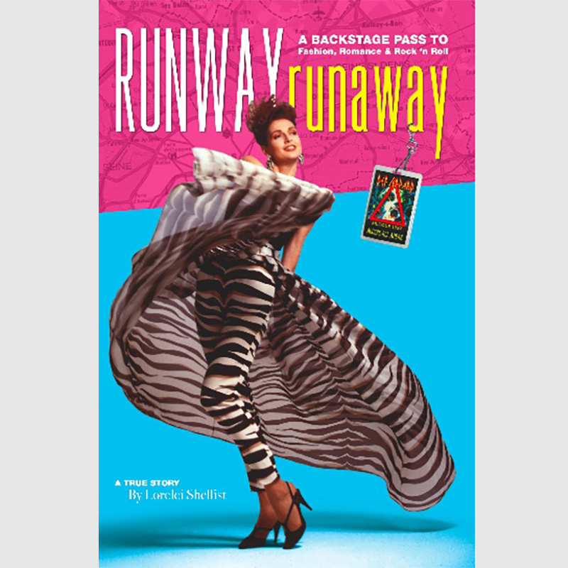 Book cover - Runway Runaway by Lorelei Shellist fashion model - Lorelei wearing zebra print outfit on turquoise and pink background