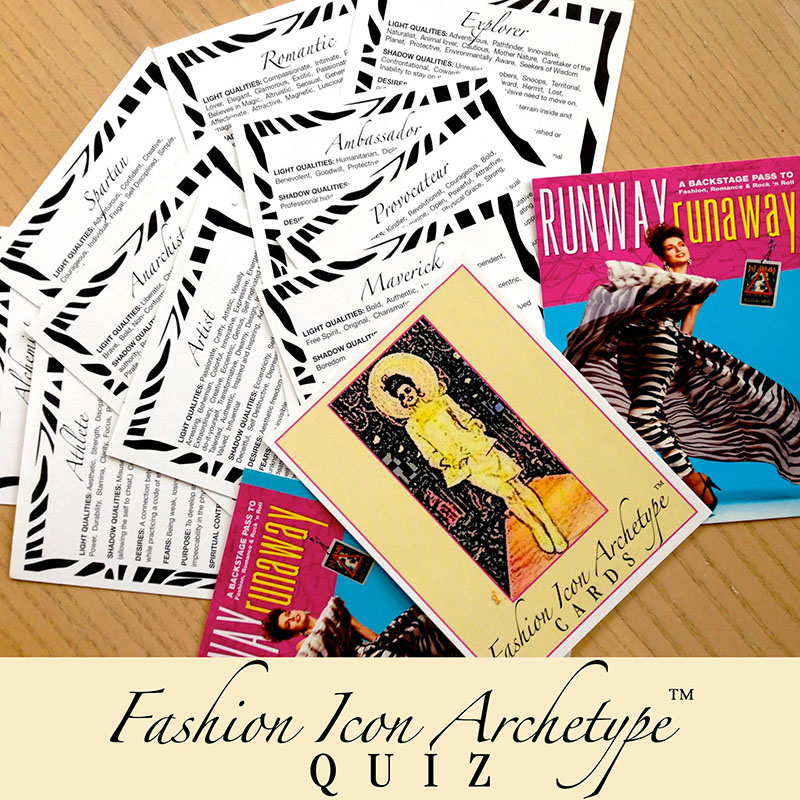 Fashion Icon Archetype™ Personality Quiz - personality type quiz cards arrayed on a tabletop