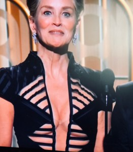 Sharon Stone baring cleavage at the Golden Globes 2018