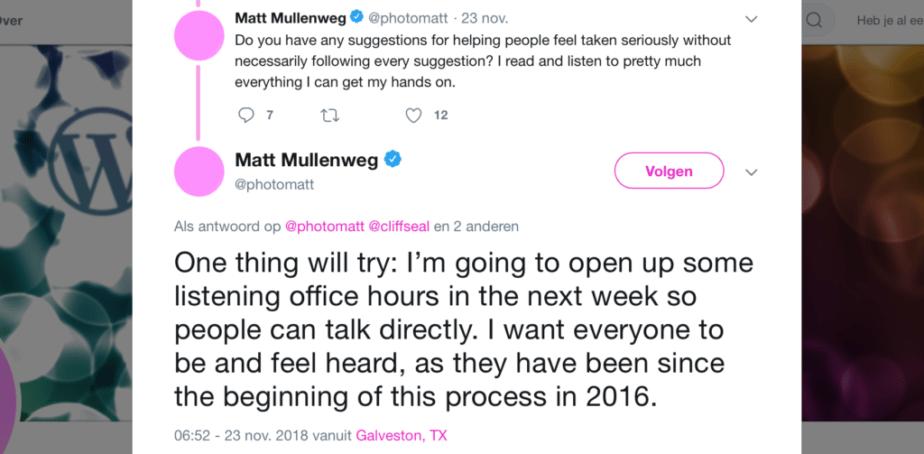mullenweg reacts to critics about gutenberg