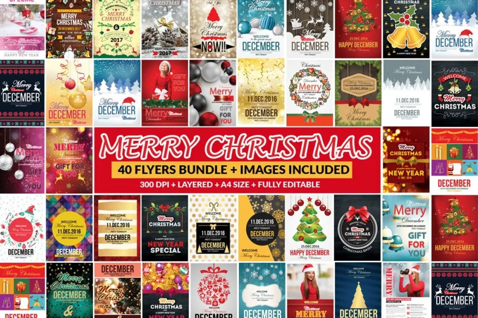 Inside the deal, you will find 66 PSD files 1 Information File 50 flyers 5 vouchers 5 timelines 5 postcards 26+ Christmas Elements