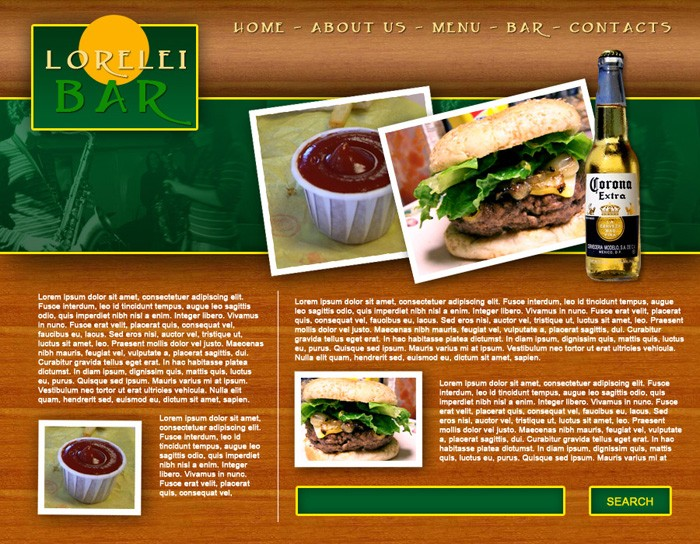 Design a Full Template for Bar Restorant Website Layout