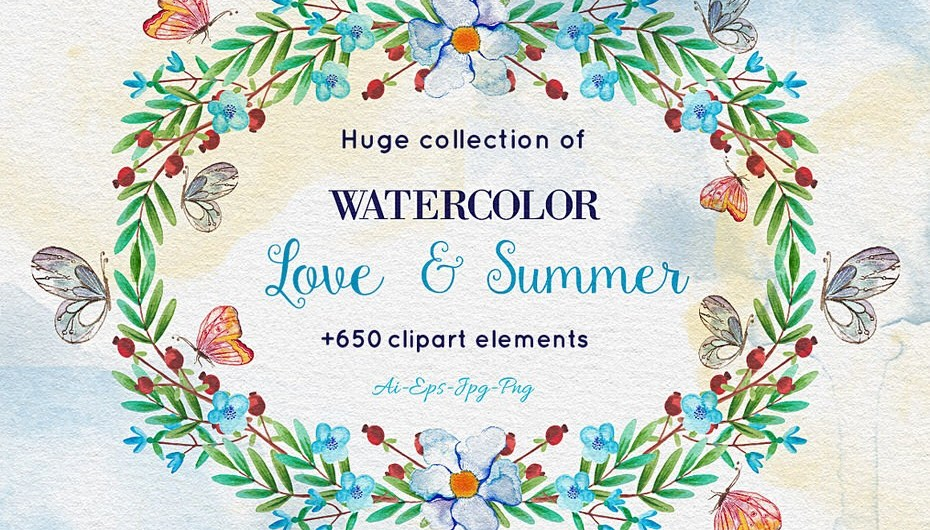 Download Over 650 Amazing Watercolor Elements - Photoshop Resources Lorelei Web Design