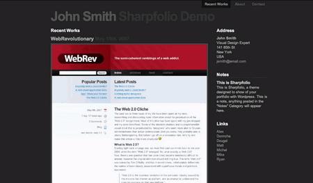 Sharpfolio in 100 Excellent Free WordPress Themes