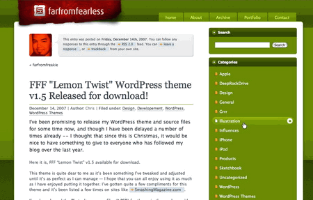 Lemontwist in 100 Excellent Free WordPress Themes