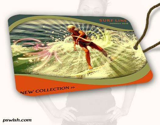 Create A Stylish Surfing Fashion Label Tag