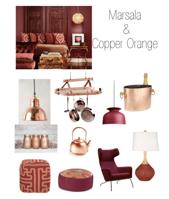 Marsala and Copper Orange home decoration