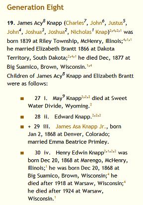 Knapp Family Generation Tree, from the family history blog by Lorelle