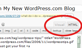 Visual and Edit buttons on the WordPress post editor panel