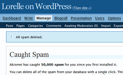 Akismet killed 50,000 comment spams on this blog - comment spam fighting utility tool