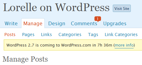 Countdown on WordPress.com blogs for WordPress 2.7