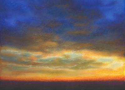 #SP1601 'Blue Sky Sunset' Original Art - soft pastel