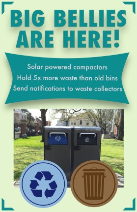 Marketing poster for new trash compactors
