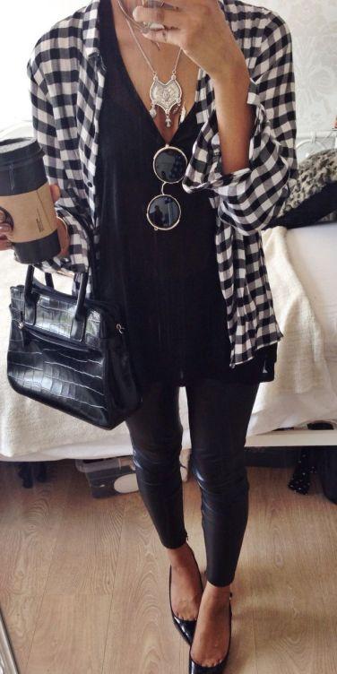 kockás ing - fekete