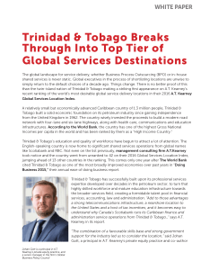 Trinidad & Tobago Breaks Through Into Top Tier of Global Services Destinations