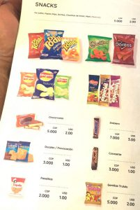 Though flights are usually short, Viva Air offers a several page menu of snacks and beverages for purchase.