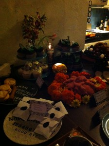 Some of Sarah's treats at the first Death Salon party, October 2013
