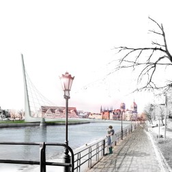 Gdansk Footbridge - North view from Wartka