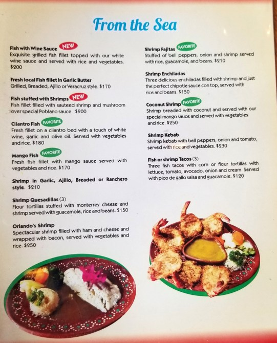 Orlando's menu as of January, 2019