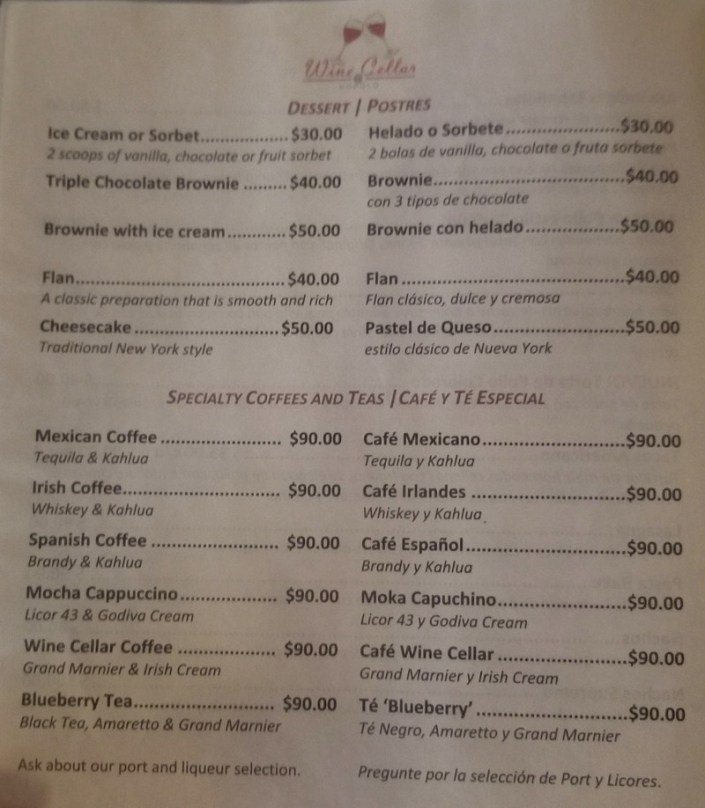 Dessert menu January 2019