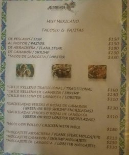 Menu as of January 2019
