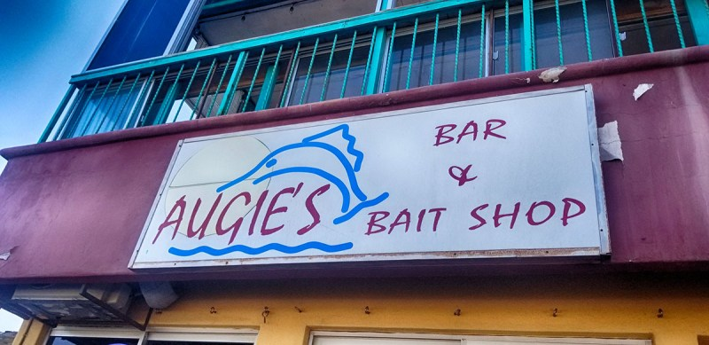 Augie's Bar & Bait Shop Sign