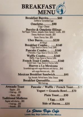 La Sirena Loreto Mexico Breakfast Menu