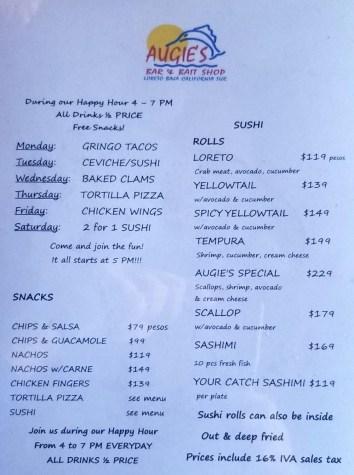 Augie's Bar & Bait Shop Lunch/Dinner menu 06/2019
