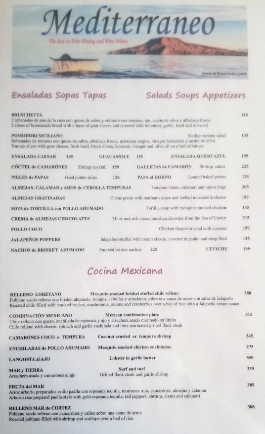 Mediterraneo Dinner Menu 08-2019