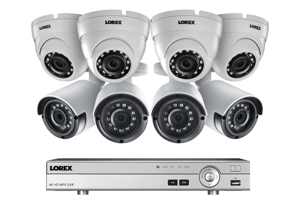 medium resolution of 2k super hd security camera system with 8 metal outdoor cameras 150ft night vision 8 channel 4k dvr lorex