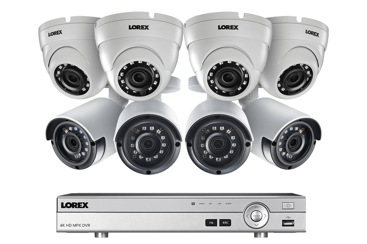 hight resolution of 2k super hd security camera system with 8 metal outdoor cameras 150ft night vision 8 channel 4k dvr lorex