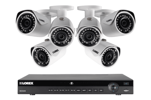 small resolution of security nvr system 8 channel with 2k resolution ip cameras featuring 130ft color night vision