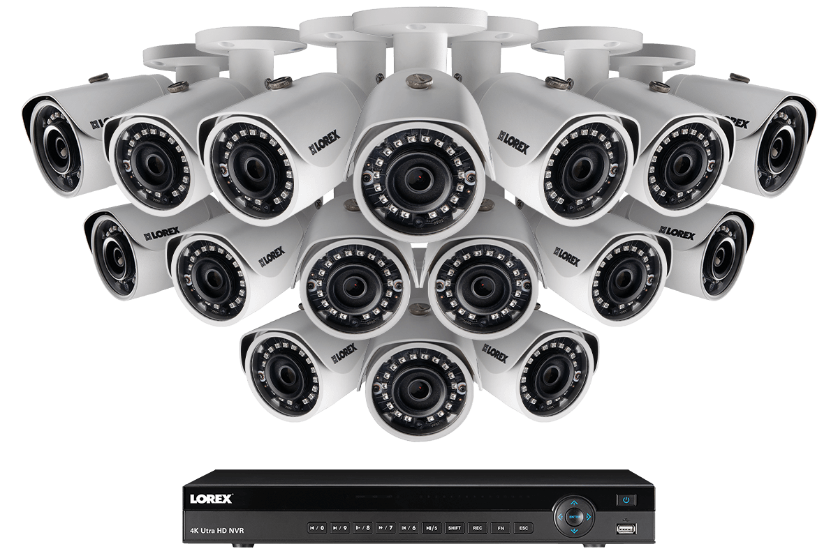 hight resolution of 2k ip security camera system with 16 channel nvr and 16 outdoor 2k 4mp ip cameras