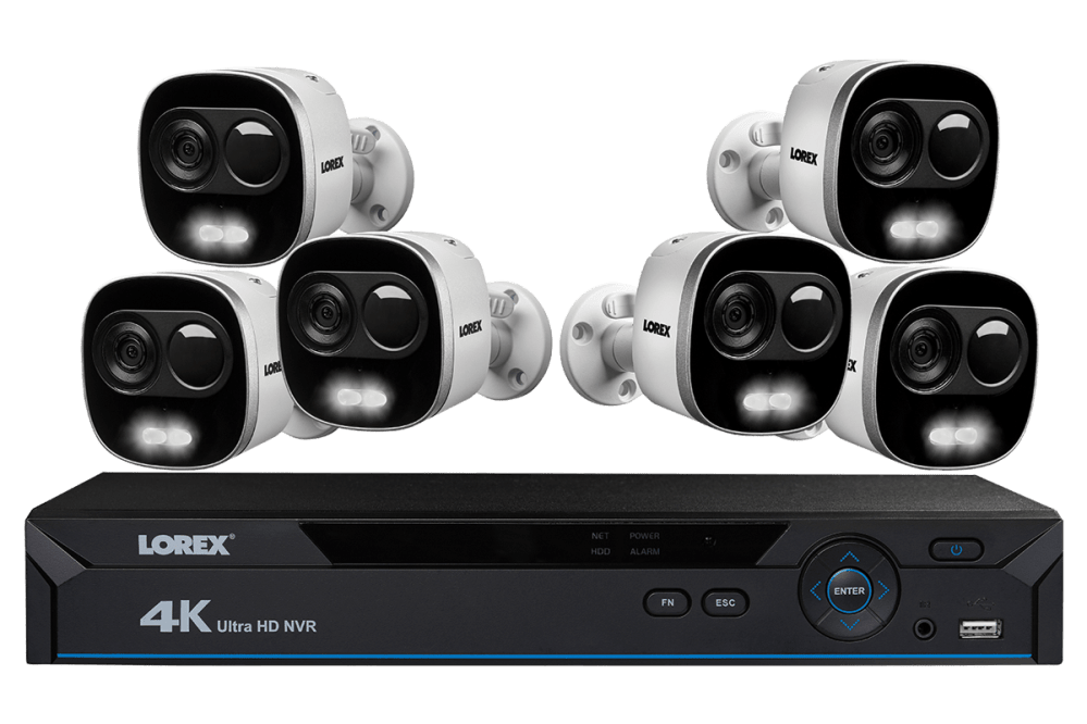 medium resolution of 4k ultra hd ip nvr system with 6 active deterrence security cameras 130ft night vision lorex