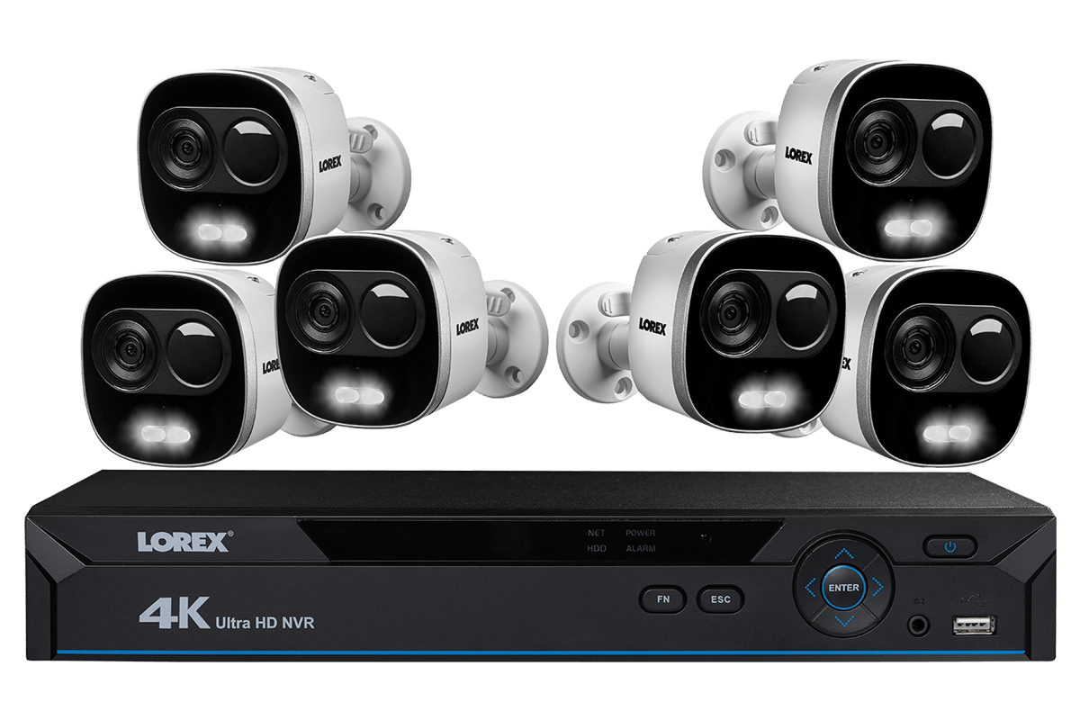 hight resolution of 4k ultra hd ip nvr system with 6 active deterrence security cameras 130ft night vision lorex