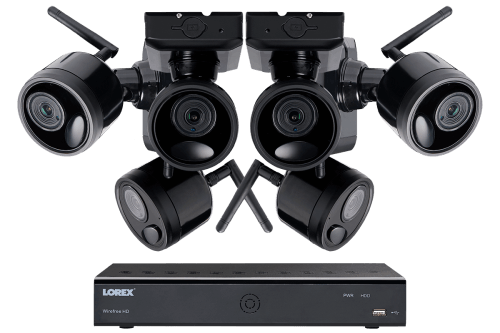 small resolution of 1080p outdoor wireless camera system 6 rechargeable wire free battery powered black cameras 95ft
