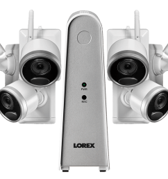 1080p wire free camera system with 6 battery operated cameras 65ft night vision mic and speaker for two way audio no monthly fees lorex [ 1200 x 800 Pixel ]