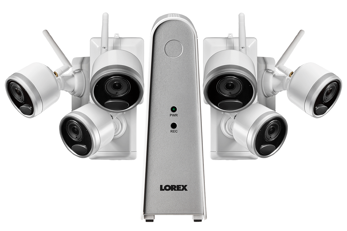 hight resolution of 1080p wire free camera system with 6 battery operated cameras 65ft night vision mic and speaker for two way audio no monthly fees lorex
