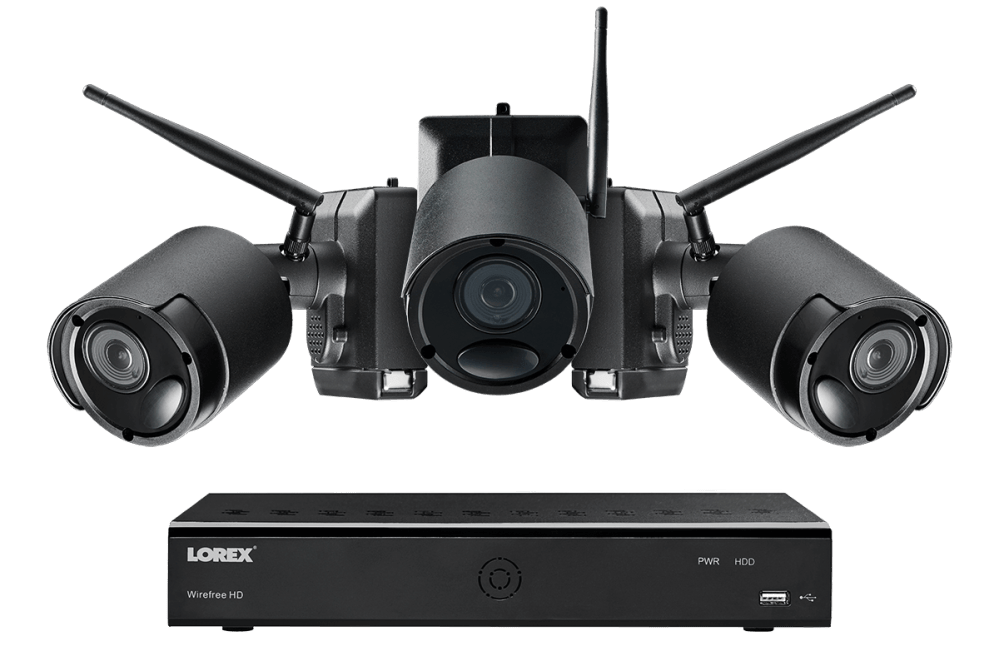 medium resolution of 1080p wire free camera system 3 battery powered black outdoor metal cameras ultra