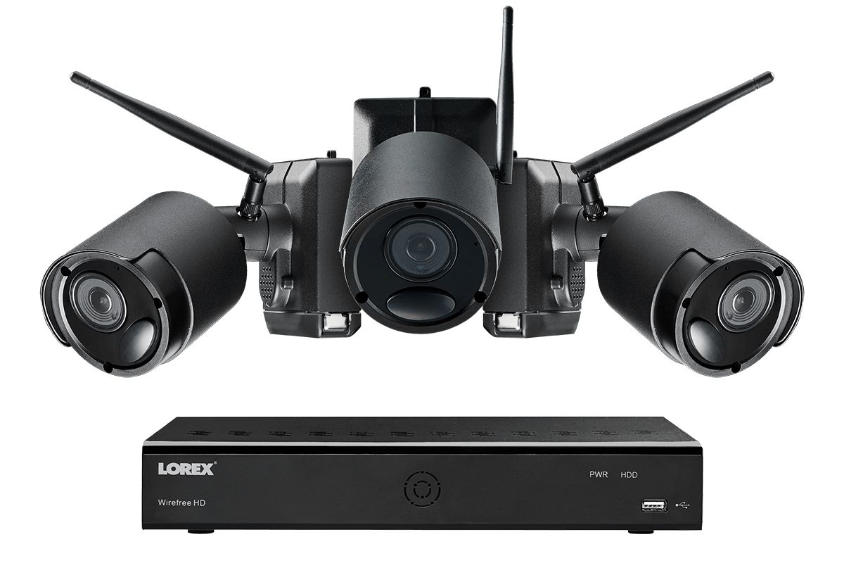 hight resolution of 1080p wire free camera system 3 battery powered black outdoor metal cameras ultra