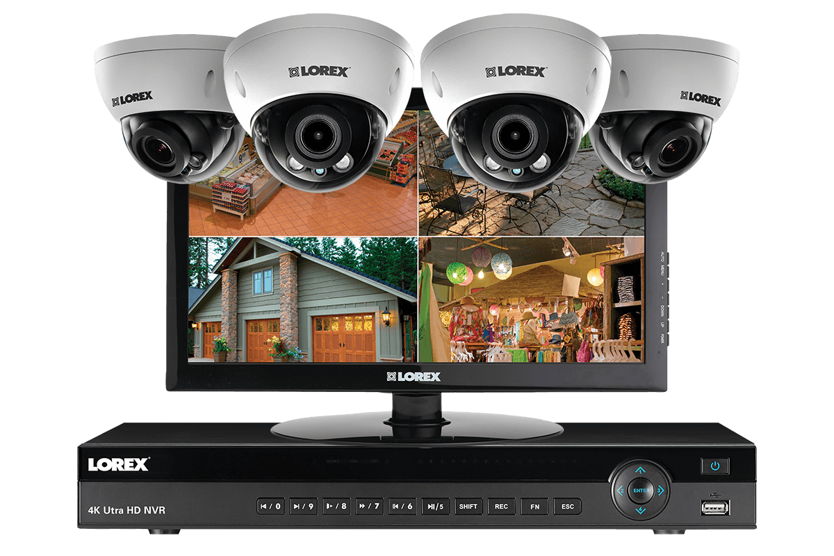 hight resolution of 2k ip camera home security system with monitor 140ft night vision with 3x zoom lens lorex