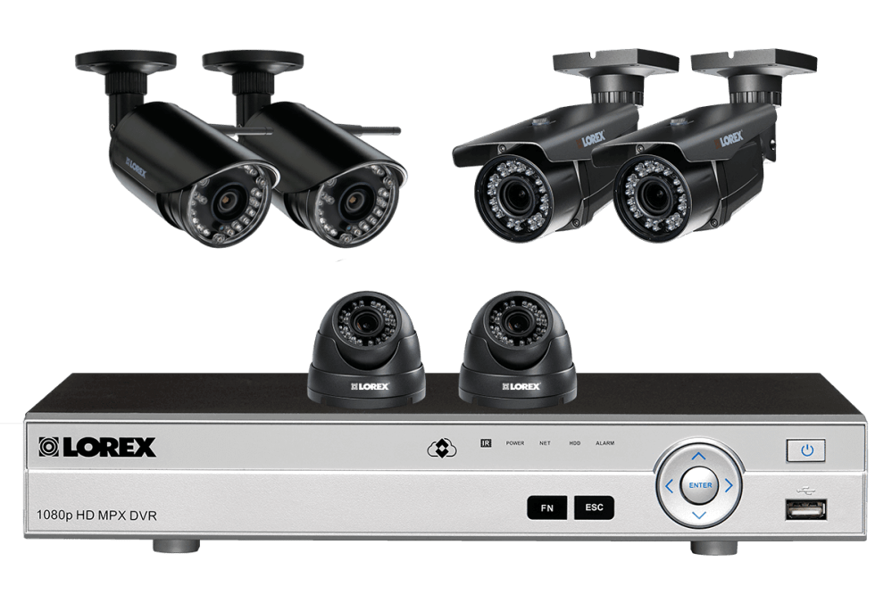 medium resolution of flexible security system with hd 1080p cameras 2 with zoom lenses and 2 wireless hd 720p cameras lorex